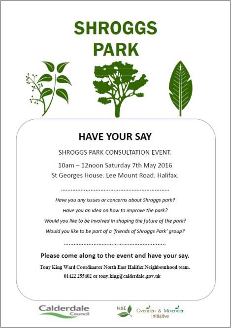 shroggs park consultation poster