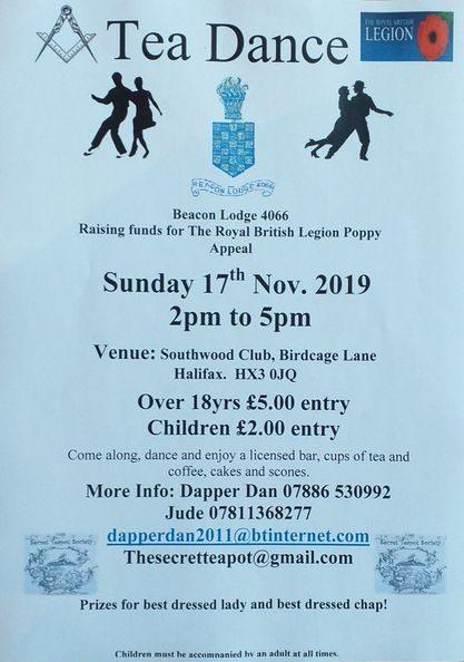 Tea Dance in aid of Royal British Legion Poppy Appeal